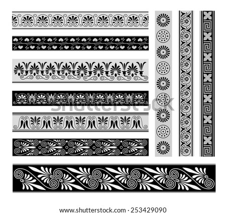 Greek ornament. Set of geometric borders. - stock vector