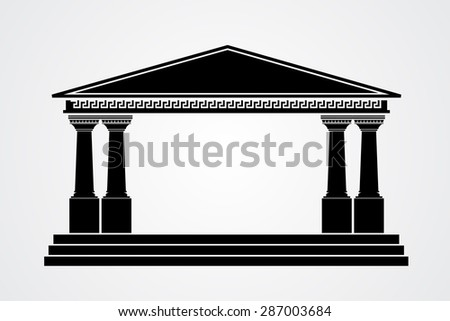 Greek parthenon silhouette isolated on white background. Vector illustration