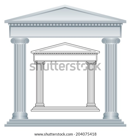 Greek Portico with Columns