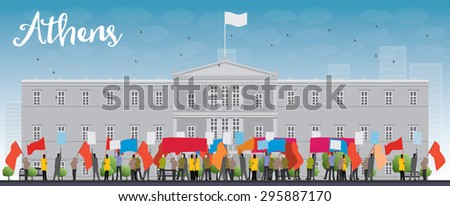 Greek protesting in front of the Greek Parliament in Athens, Greece. Vector illustration - stock vector