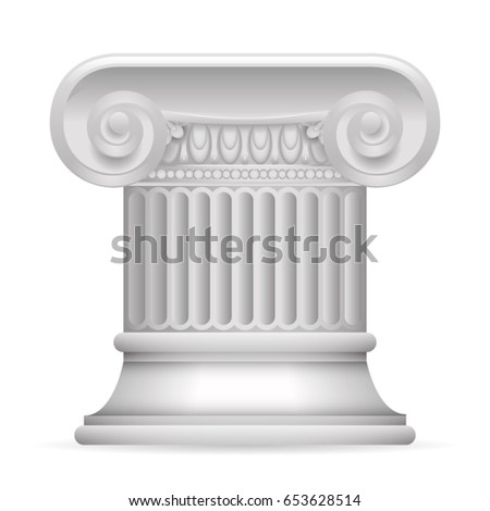 Greek Roman Antique Classic Column Stand Realistic Isolated Design Vector illustration