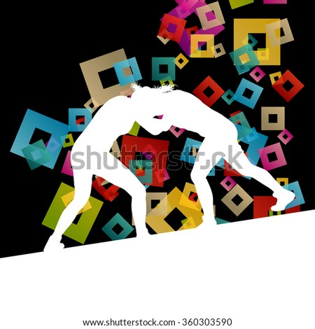 Greek roman wrestling active young women sport silhouettes vector abstract background illustration concept - stock vector