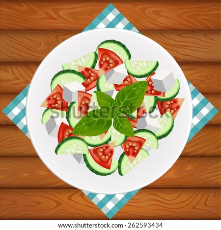 Greek salad with feta and basil on white plate placed on the wooden table. Vector image can be used for restaurant and cafe menu design, food posters, print cards and other crafts. - stock vector