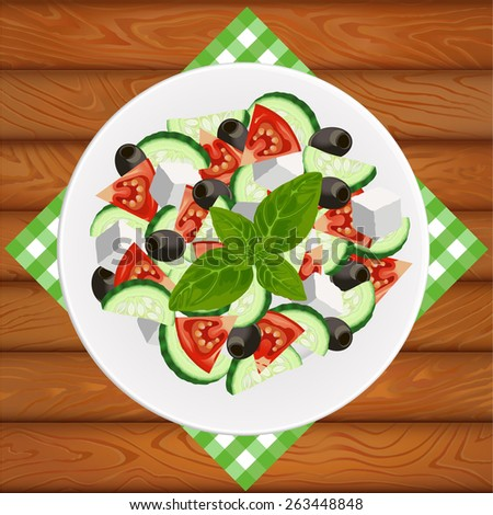 Greek salad with feta and olives on white plate placed on the wooden table. Vector image can be used for restaurant and cafe menu design, food posters, print cards and other crafts. - stock vector