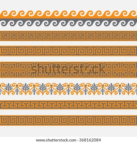 Greek seamless patterns, textures ,in traditional colors on a gray background. Isolated objects.
