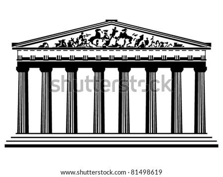 Greek temple vector - stock vector