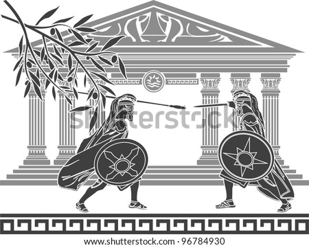 greek warriors and temple. stencil. vector illustration - stock vector
