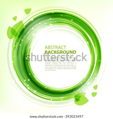 Green abstract background. Round eco template with leaves and sparks for business presentations with empty space for your text. Vector.