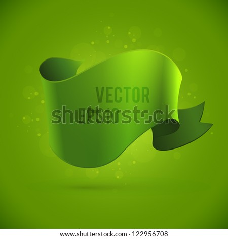 Green abstract background with banner - stock vector