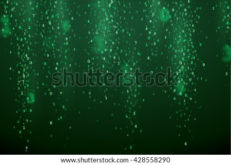 Green abstract background with random digital numbers. Virtual matrix illustration. Green symbols in VR. - stock vector