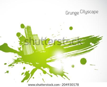 Green abstract brush illustration. Vector art - stock vector
