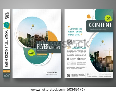 Green abstract circle cover book portfolio presentation poster.Brochure design template vector.City design on A4 brochure layout. Flyers report business magazine poster layout portfolio template.