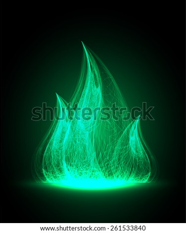 green Abstract fire flames on a black background. Colorful vector illustration - stock vector