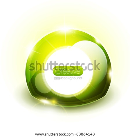Green abstract glossy sphere - stock vector