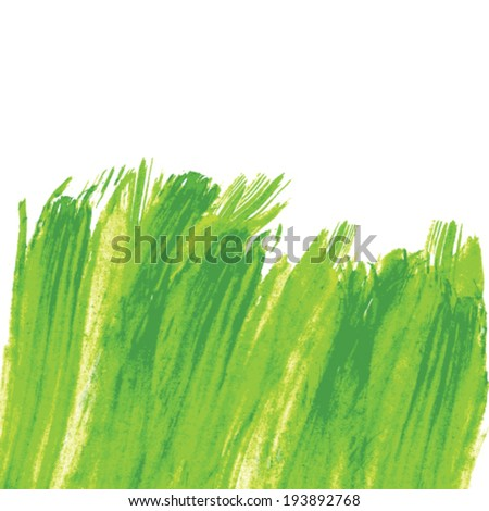 Green Abstract Hand painted watercolor grass background. Vector - stock vector