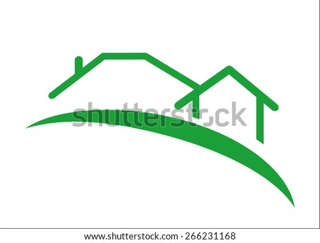 Green abstract  houses and road vector EPS10