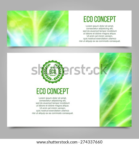 Green abstract layout design set with leaf texture. - stock vector