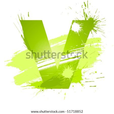 Green abstract paint splashes font. Letter V. Vector on white background. - stock vector