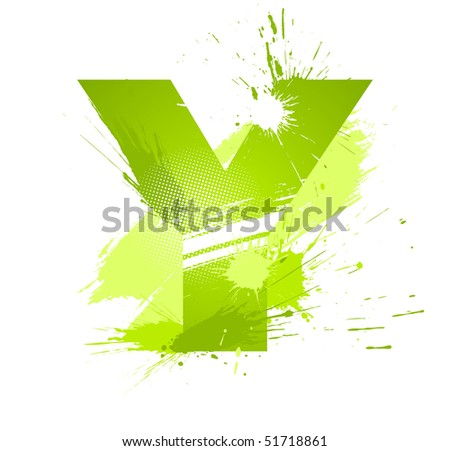 Green abstract paint splashes font. Letter Y. Vector on white background.