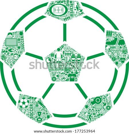Green Abstract SOCCER BALL  - stock vector