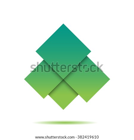 Green abstract squares geometric composition on white bg for your design - stock vector