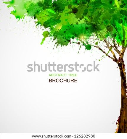 Green  abstract tree forming by blots - stock vector