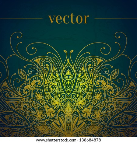 Green abstract vector background. Lace border frame for your design. Can be used for banner, invitation, wedding card, scrapbooking and others. Royal vector design element. - stock vector