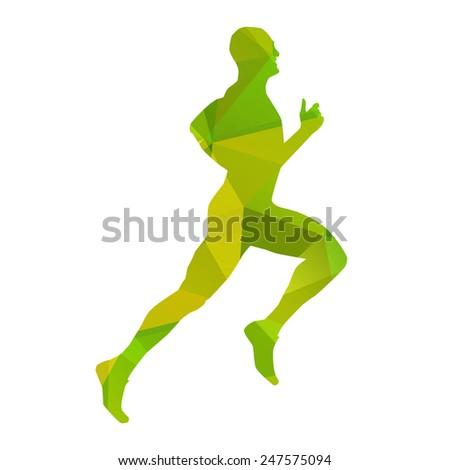 Green abstract vector runner - stock vector
