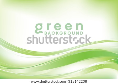 Green abstract vector wave background - stock vector