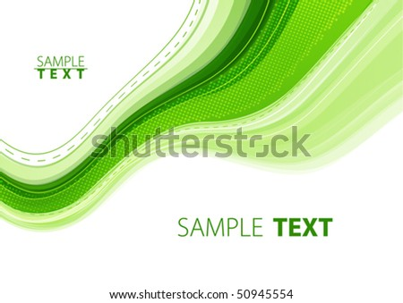 Green abstract wave. Vector