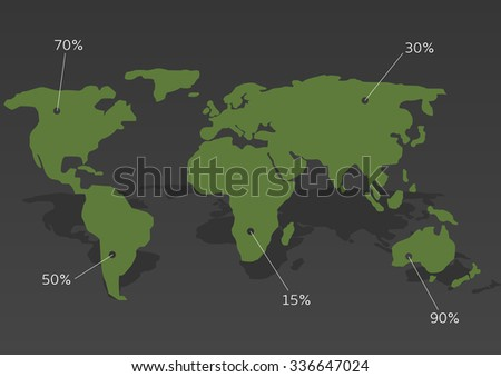 Green abstract World map with white pointer marks. Statistic analysis, Vector illustration - stock vector