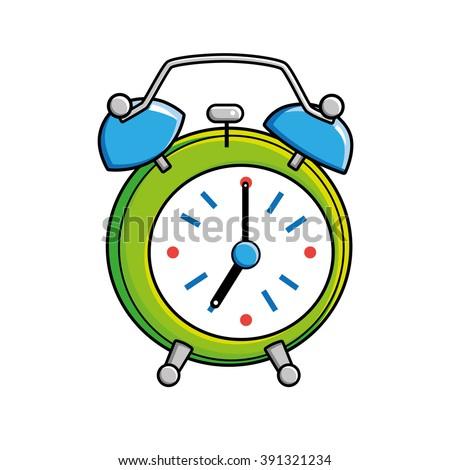 Green alarm clock. - stock vector