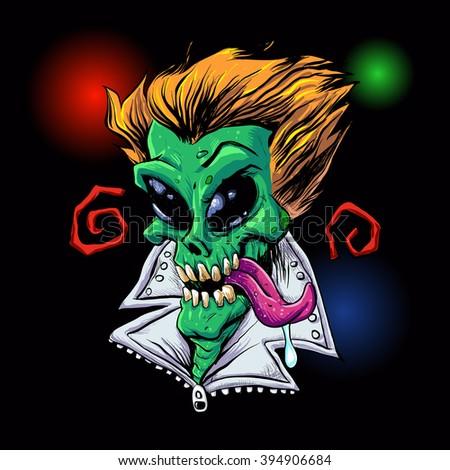 Green Alien zombie in the party. - stock vector