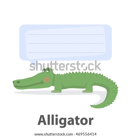 Green alligator vector illustration.Cartoon reptile vector .Danger animal isolated on a white background with template speech bubble.Zoo animal.African alligator animal