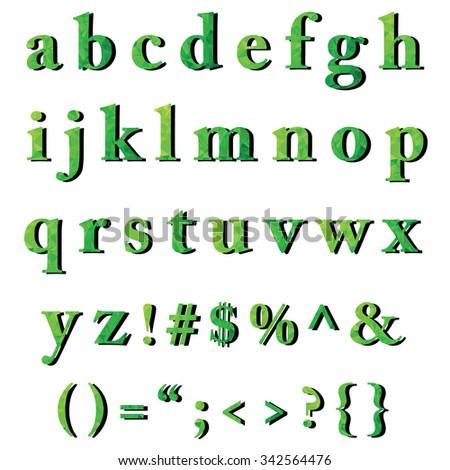 green alphabet polygon style creative design stock vector 342564476 shutterstock. Black Bedroom Furniture Sets. Home Design Ideas