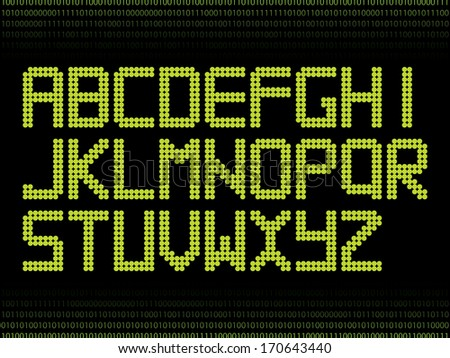 Green alphabet with dots  - stock vector
