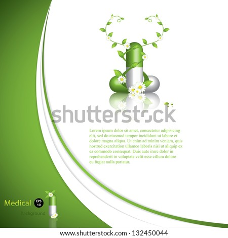 Green alternative medication concept - Herbal pill vector - stock vector