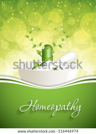 Green alternative medication concept - Homeopathy brochure vector - stock vector