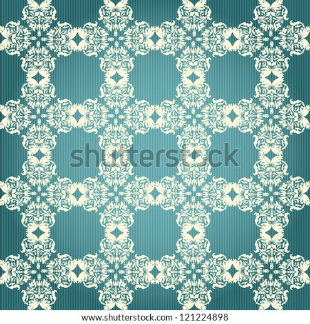 Green and beige damask seamless floral pattern - stock vector