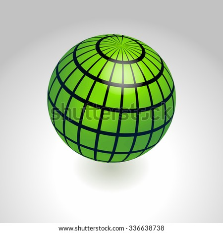 Green and black earth globe icon flying - stock vector