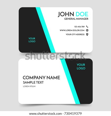 green black modern business card template stock vector 730419379