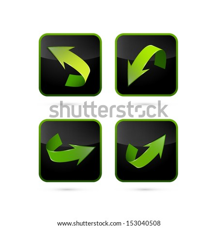 Green and Black Vector Arrows Set