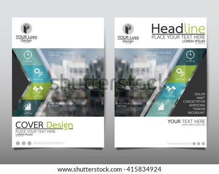 Green and blue annual report brochure flyer design template vector, Leaflet cover presentation abstract geometric background, layout in A4 size - stock vector