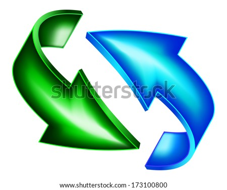 Green and blue arrows - stock vector