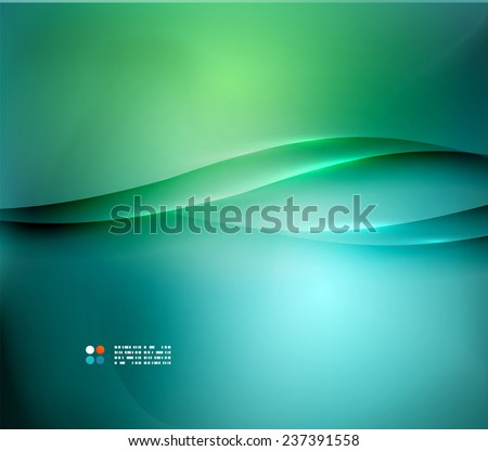Green and blue blurred design template, abstract background with lights and lines - stock vector