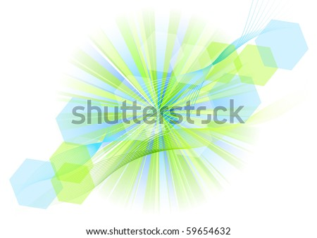 green and blue explosive on the white - stock vector