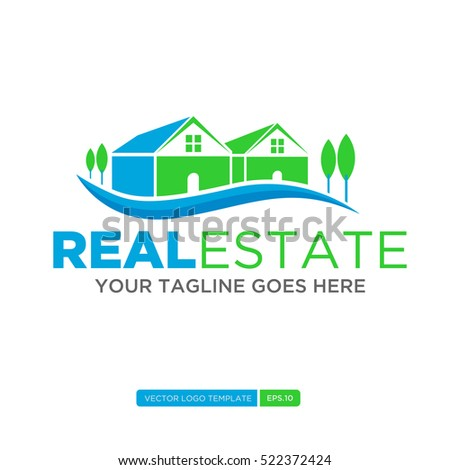 Green and Blue Home Logo vector. Real estate logo template. Vector Illustration eps.10
