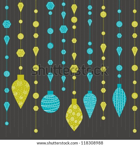 green and blue retro christmas decoration - stock vector