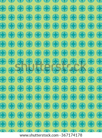 Green and blue star pattern over green background - stock vector