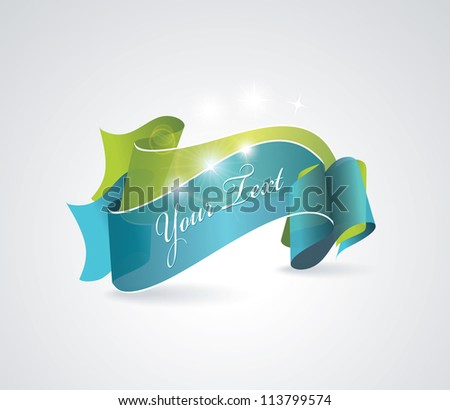 Green and blue transparent ribbons - stock vector